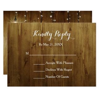 Corda rústica do cartão do país RSVP das luzes Convite 8.89 X 12.7cm