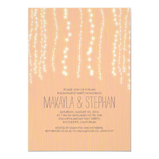 Corda rústica do pêssego da festa de noivado das convite 12.7 x 17.78cm