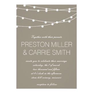 Corda simples de convites de casamento das luzes |