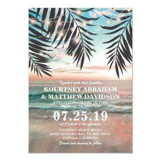 Corda tropical do casamento de praia | das luzes convite 12.7 x 17.78cm