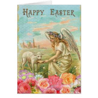 Cordeiro de alimentação do anjo. Cartão de páscoa