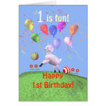 Cordeiro e balões felizes do primeiro aniversario cartão comemorativo