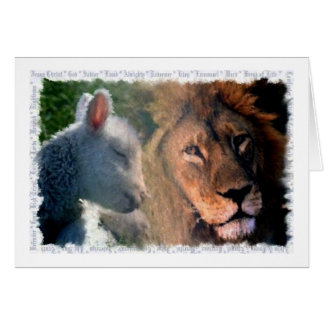 Cordeiro & leão cartão comemorativo