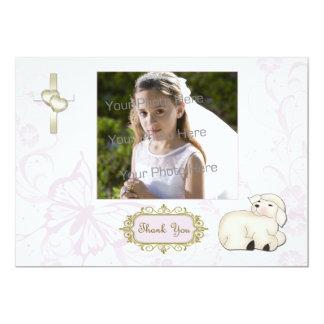 Cordeiro religioso, cruz, cartão com fotos floral convite personalizado