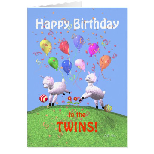 Cordeiros do feliz aniversario para gêmeos cartao