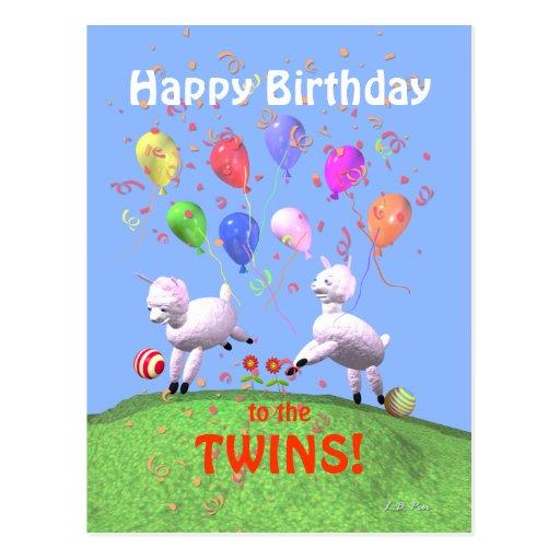 Cordeiros do feliz aniversario para gêmeos cartao postal