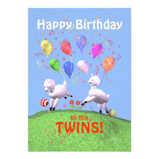 Cordeiros do feliz aniversario para os gêmeos que  convites personalizados