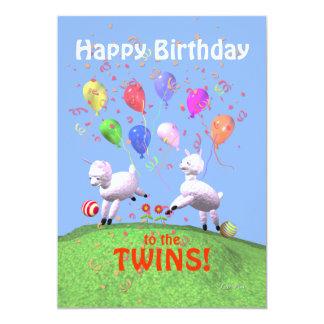 Cordeiros do feliz aniversario para os gêmeos que convite 12.7 x 17.78cm