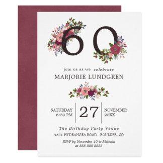 Core & Borgonha floresce a festa de aniversário Convite 12.7 X 17.78cm