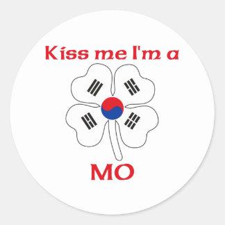 Coreanos personalizados beijam-me que eu sou Mo Adesivo Em Formato Redondo