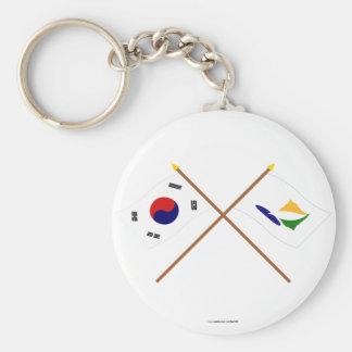 Coreia cruzada e Kangwon-faz bandeiras Chaveiro