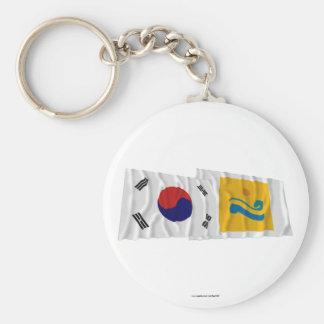 Coreia e Chollanam-faz bandeiras de ondulação Chaveiro