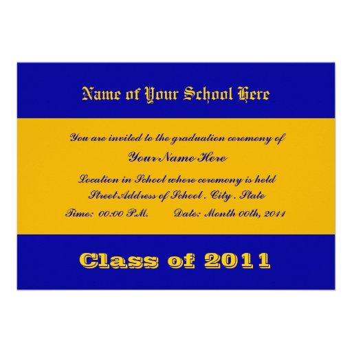 Cores da escola do azul e do ouro convite personalizados