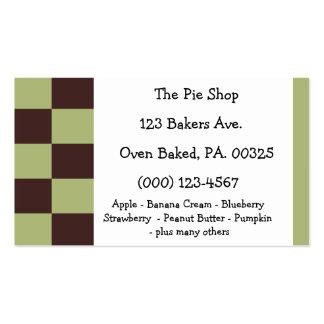 Cores da torta da hortelã do chocolate cartões de visita