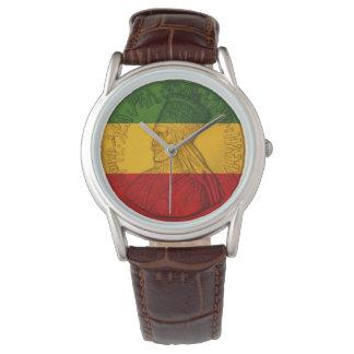 Cores de Rastafarian do relógio de Rasta Haile