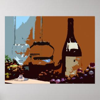 Cores de terra do vinho e do poster da arte das