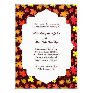 Cores do casamento do outono convite personalizados