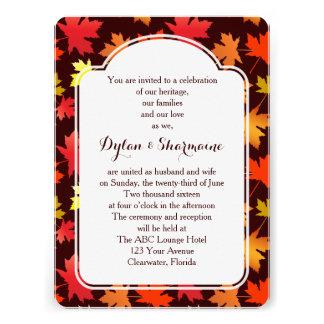 Cores do convite do casamento do outono
