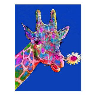 Cores do girassol do girafa do divertimento cartão postal