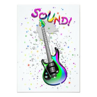 Cores do som da guitarra elétrica convite 12.7 x 17.78cm