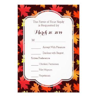 Cores dos cartões de resposta do casamento do convite