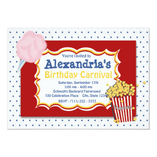 Cores preliminares do aniversário do carnaval convite 12.7 x 17.78cm