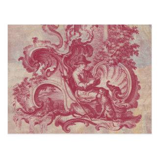 Cores vermelhas de Toile Pompeia do vintage Cartão Postal