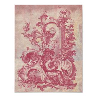 Cores vermelhas de Toile Pompeia do vintage Convite 10.79 X 13.97cm