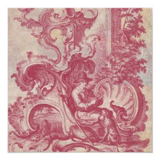 Cores vermelhas de Toile Pompeia do vintage Convite Quadrado 13.35 X 13.35cm