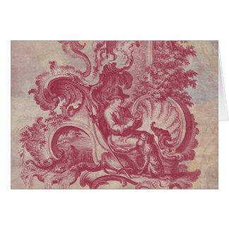 Cores vermelhas de Toile Pompeia do vintage francê Cartão