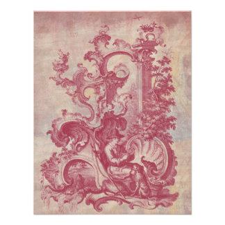 Cores vermelhas de Toile Pompeia do vintage francê Convite Personalizado