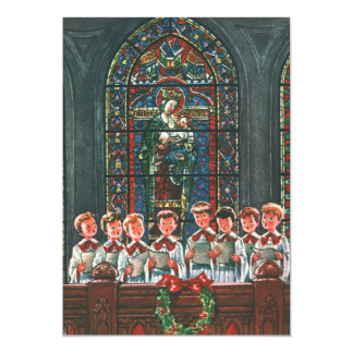 Coro do natal vintage nas crianças da igreja que convite personalizado