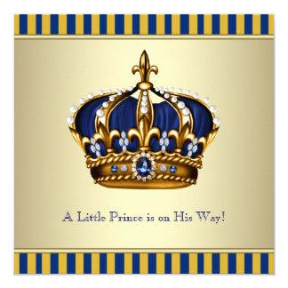 Coroa azul do ouro chá de fraldas pequeno do convites personalizados