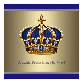 Coroa azul do ouro chá de fraldas pequeno do convites