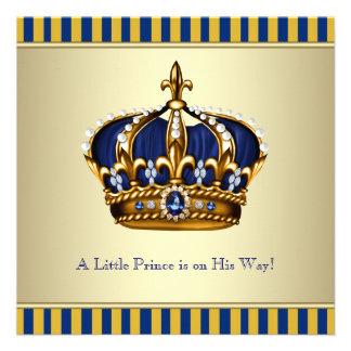 Coroa azul do ouro chá de fraldas pequeno do prínc convites personalizados