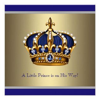 Coroa azul do ouro chá de fraldas pequeno do prínc convites