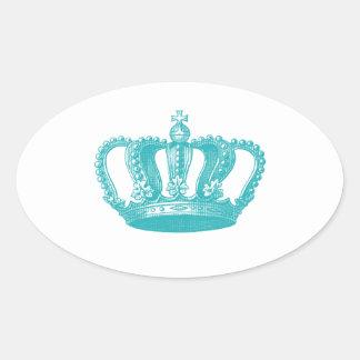 Coroa azul do vintage do Aqua feminino Adesivos Em Formato Ovais