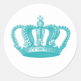 Coroa azul do vintage do Aqua feminino Adesivo Em Formato Redondo