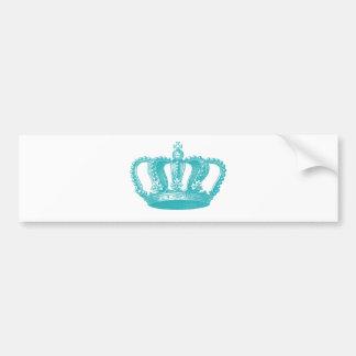 Coroa azul do vintage do Aqua feminino Adesivo