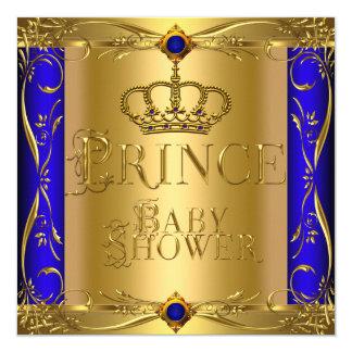 Coroa azul régia 9 do menino pequeno do príncipe convite personalizado