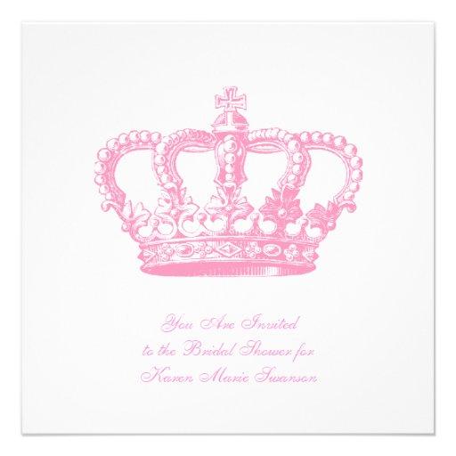Coroa cor-de-rosa convites personalizados