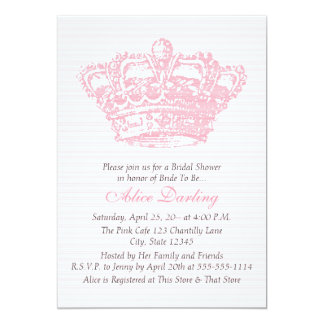 Coroa cor-de-rosa convite 12.7 x 17.78cm