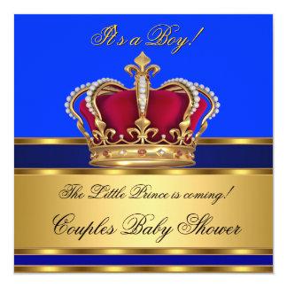 Coroa do chá de fraldas do menino do príncipe azul convite quadrado 13.35 x 13.35cm