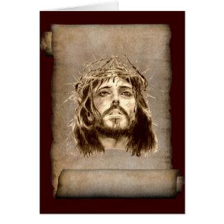 Coroa do Jesus Cristo de espinhos no rolo Cartão Comemorativo