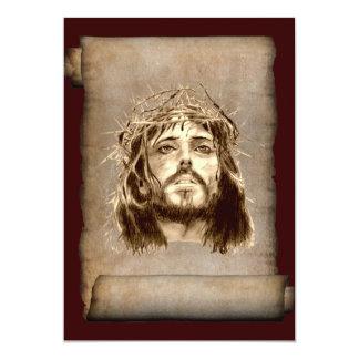 Coroa do Jesus Cristo de espinhos no rolo Convite