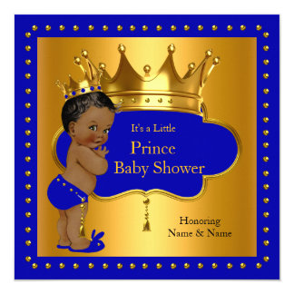 Coroa do menino de azuis marinhos do príncipe chá convite quadrado 13.35 x 13.35cm