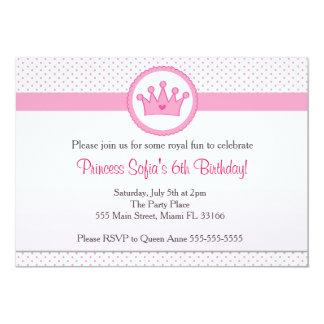 Coroa do rosa da festa de aniversário da princesa convite 12.7 x 17.78cm