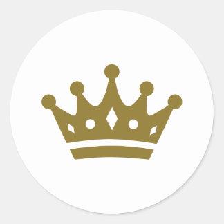 Coroa dourada adesivo redondo