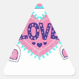 Coroa e corações do amor adesivo triangular