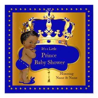 Coroa real do menino azul do príncipe chá de convite quadrado 13.35 x 13.35cm